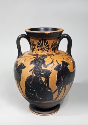 Black-figure amphora with Herakles and Geryoneus, c.500 BC, attributed to the Leagros Group